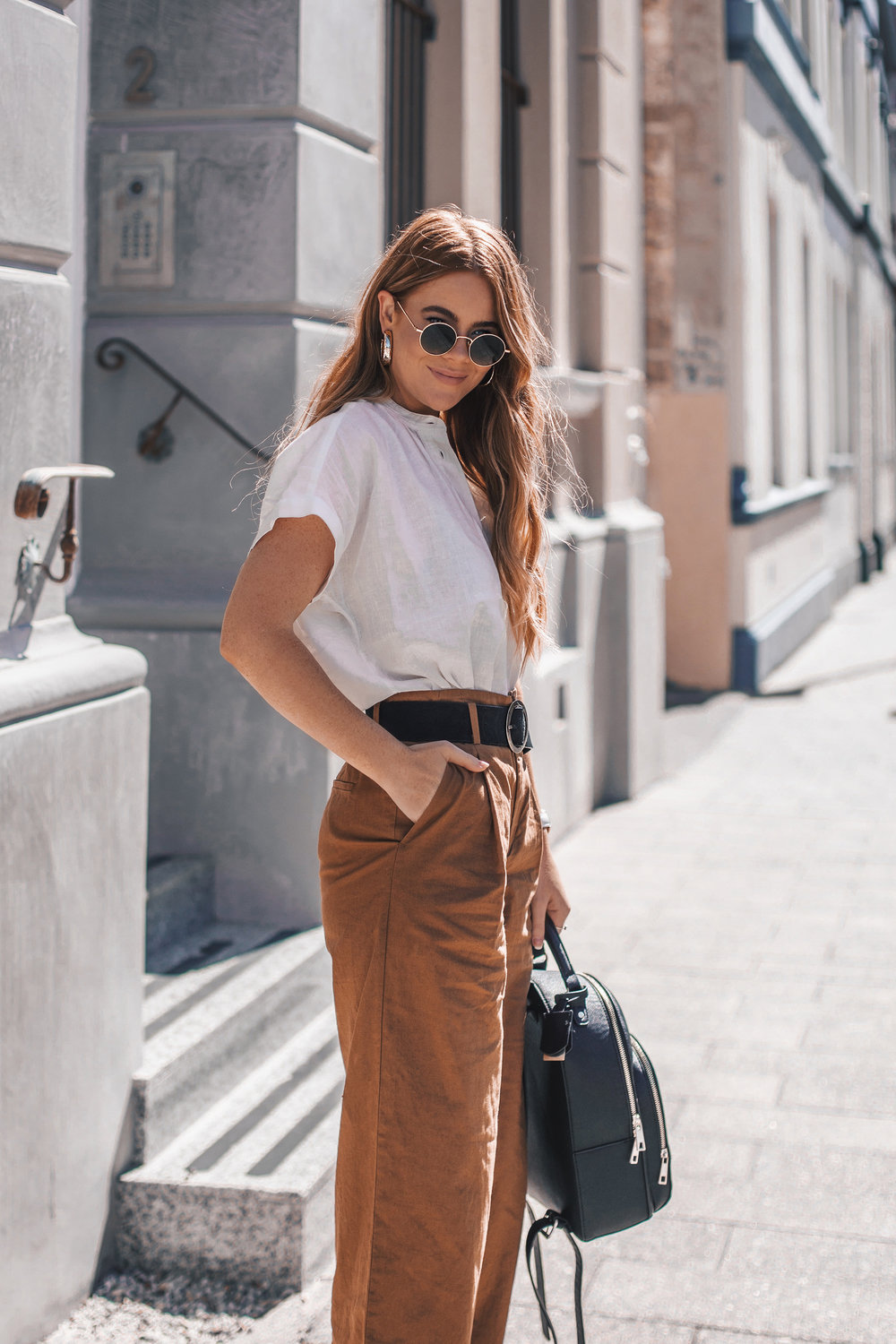 03e67f80 I'm wearing: UNIQLO white Linen Short Sleeve Blouse and brown Wide Leg  Pants.