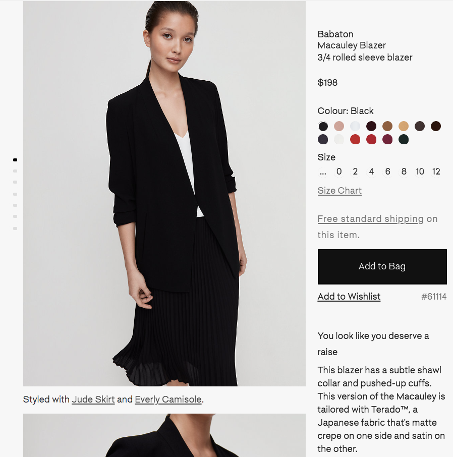 aritzia pdp - This online product description page includes a fun one-liner that speaks to the Aritzia customer, followed by factual information about the garment .