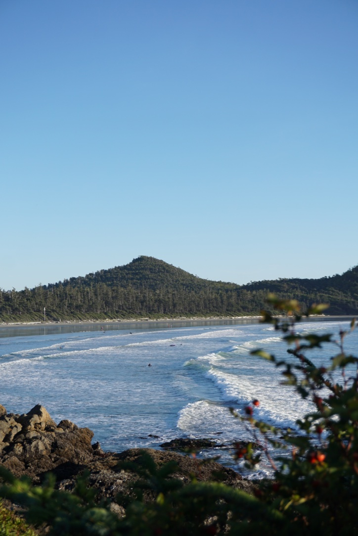 The view of Cox Bay—a popular surfing spot—from Pacific Sands Beach Resort.