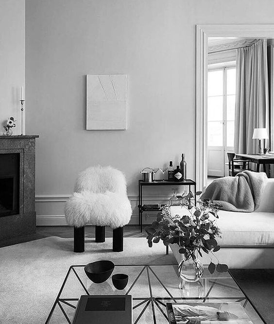 Furry Botolo chair by Arflex in the home of Designer Louise Liljencrantz