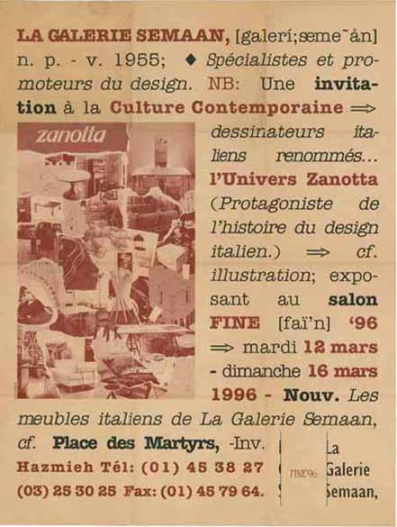 Poster for a Zanotta event organized by La Galerie Semaan in 1996 -  poster design by Mind The Gap
