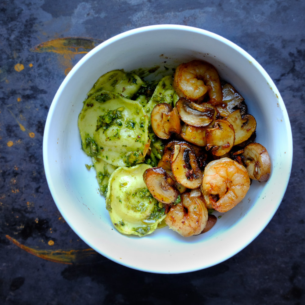 Pistachio pesto with caramelized mushrooms and shrimp -
