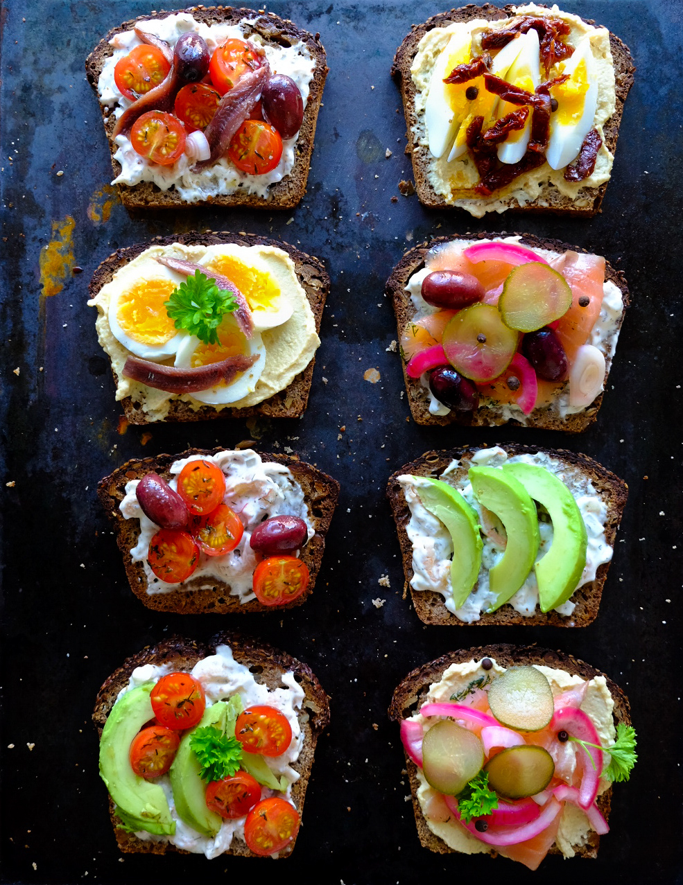 - Open rye bread sandwiches