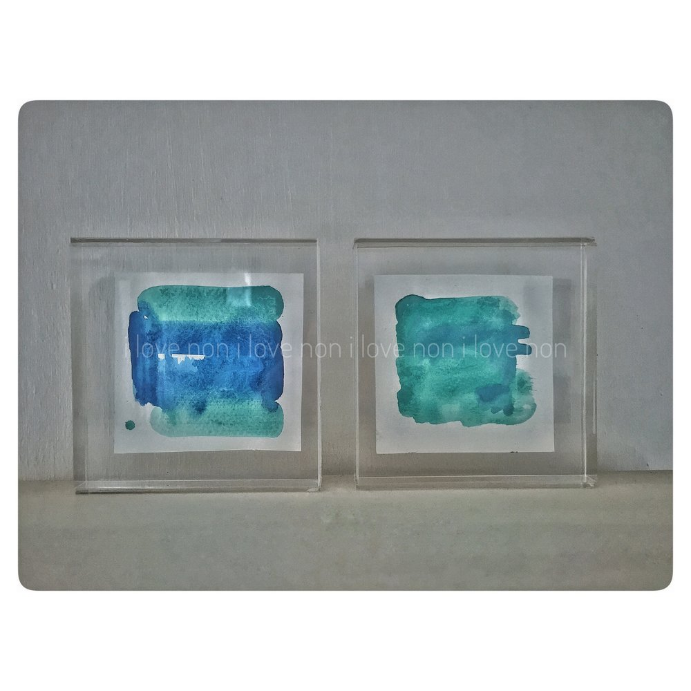 watercolour on cold pressed paper, free-standing 'floating' frames, 10x10cm.