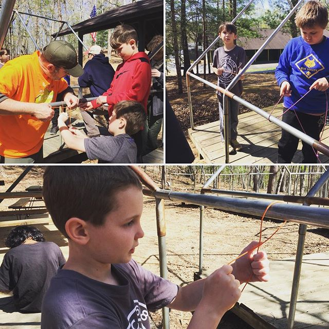 Practicing knots during our spring campout. #atlscouts