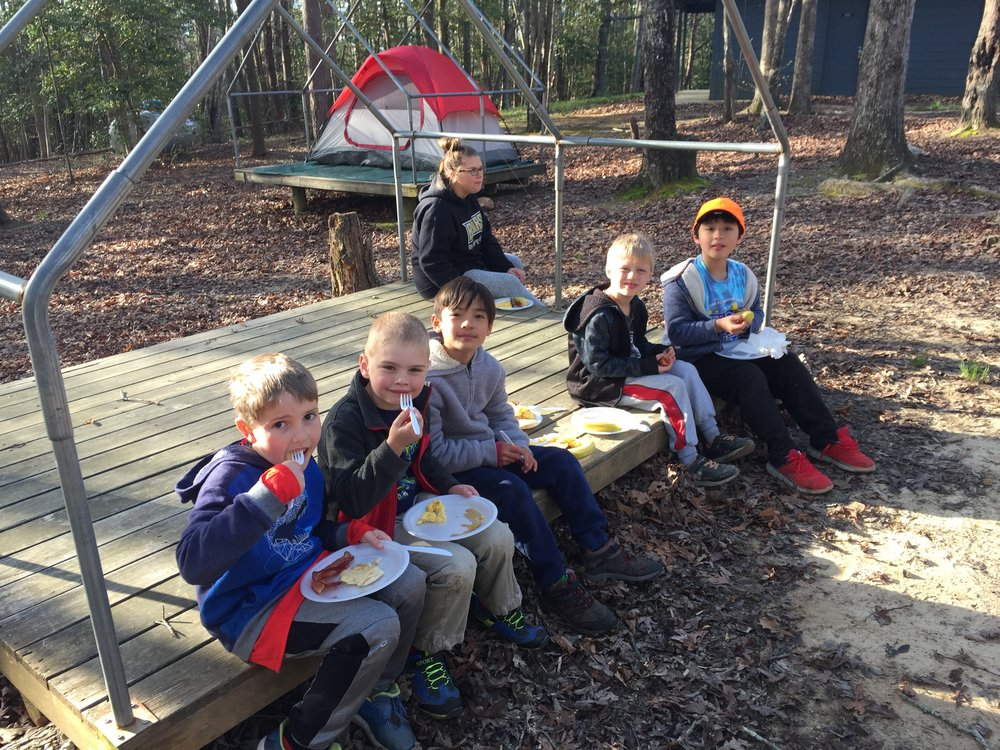 Scouts Eating Breakfast