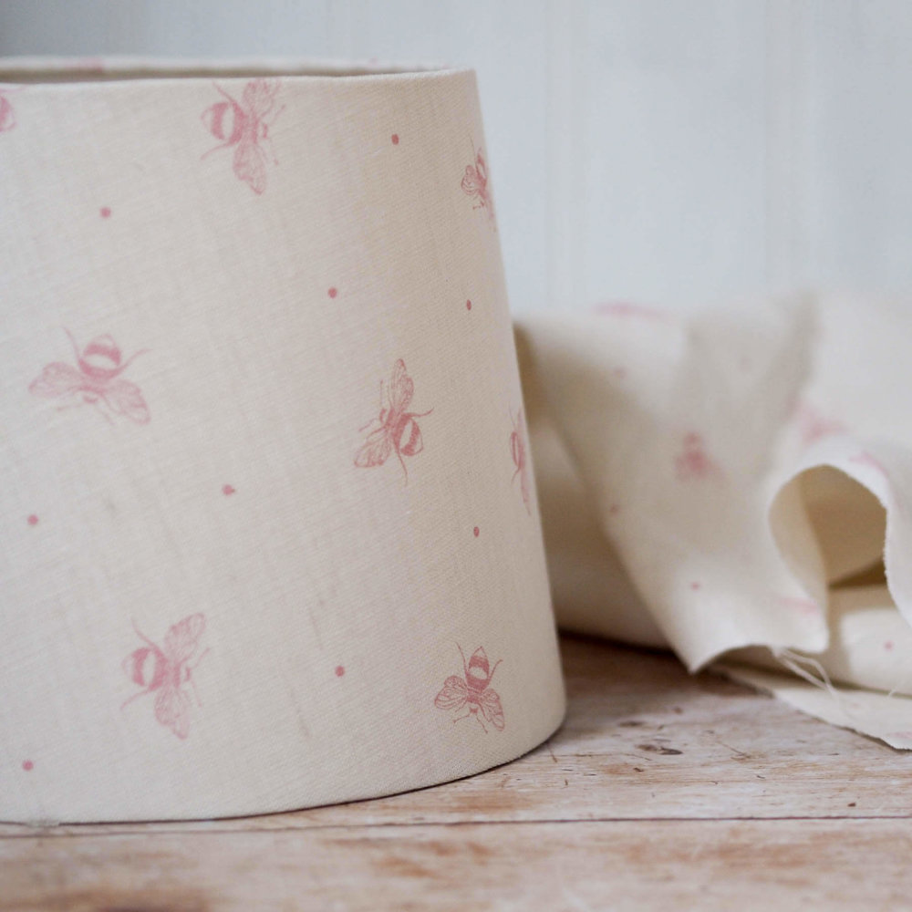 peony and sage blush pink busy bees tapered lampshade by Lolly & Boo