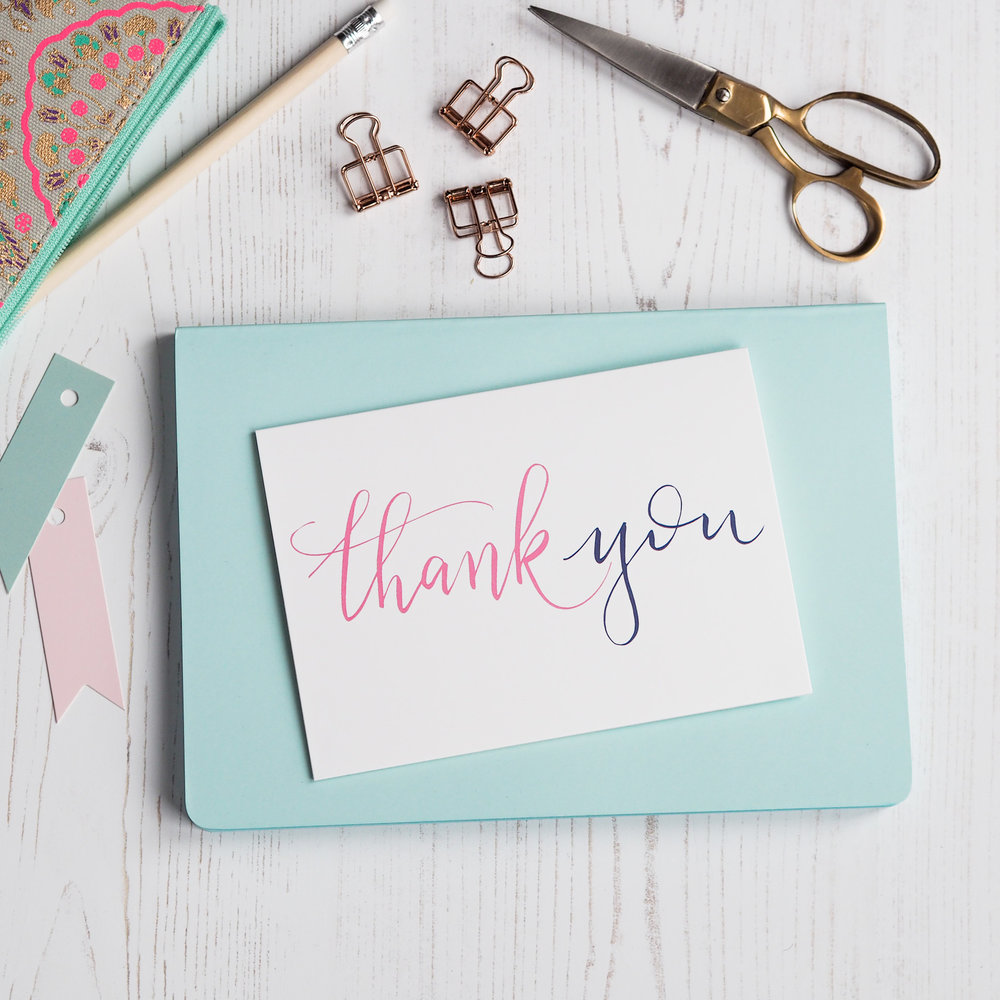 thank you hand lettered card