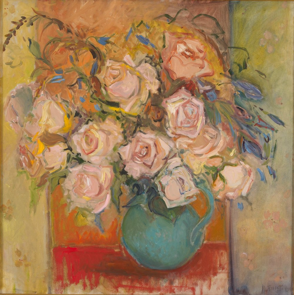 Roses in Green Vase  24x27-oil on canvas