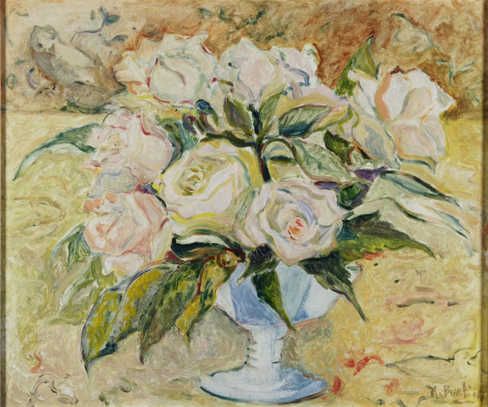 White Roses, Blue Vase  14X16-oil on board