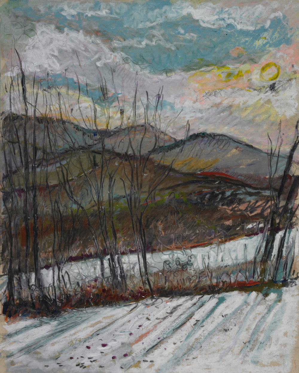 Late Afternoon, December  11x14 - Oil on Pastel Paper