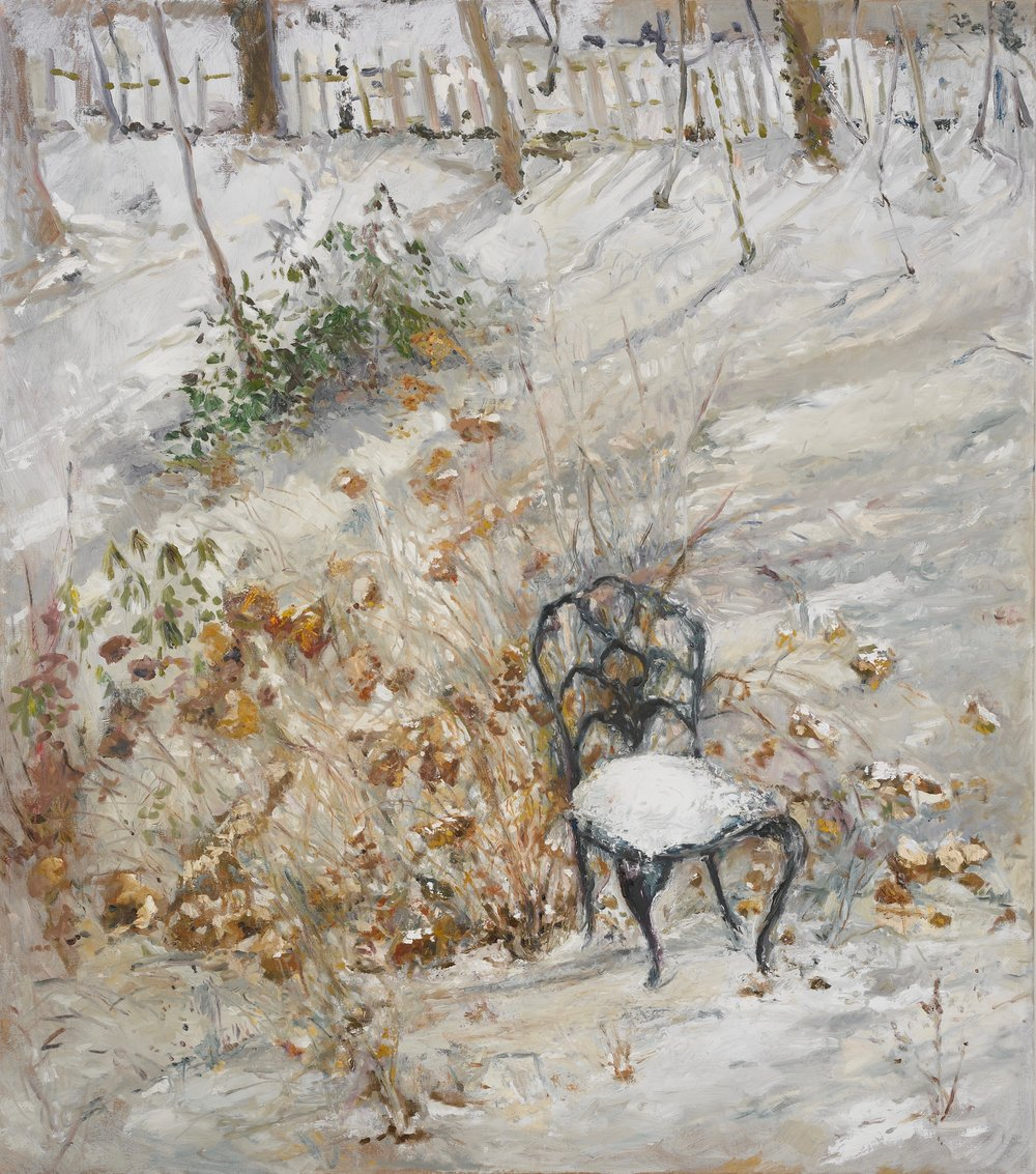 Garden Chair in Snow  30X32 - Oil on Linen