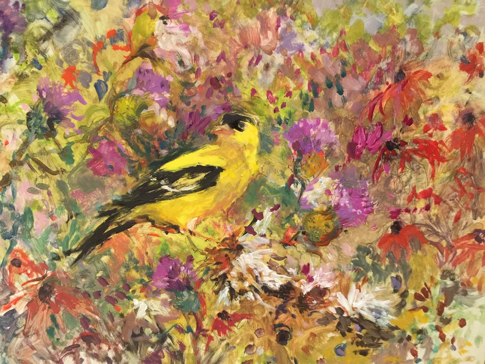 Finch and Thistles  8X10 - Oil on Clayboard