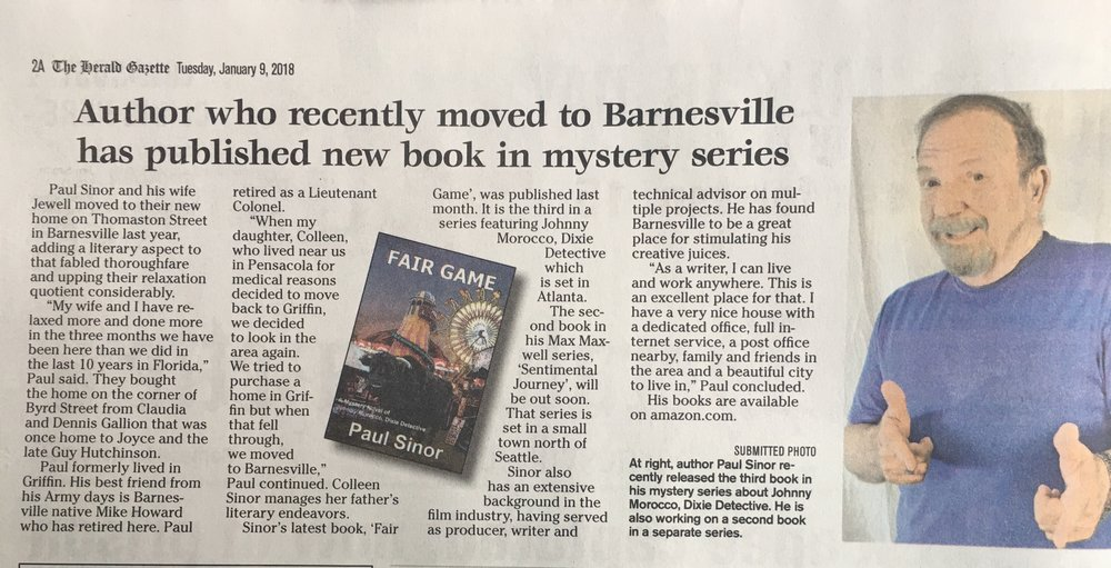 My recent claim to fame! A great write up in the Barnesville GA. Herald-Gazette by Walter Geiger.