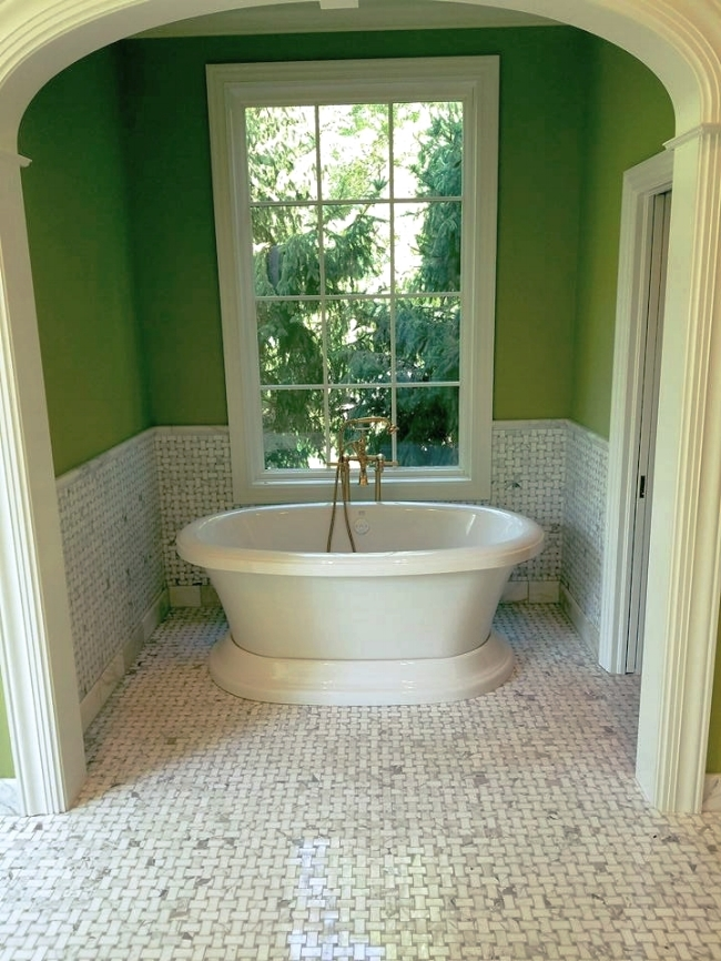 Master Bath floor is Basket weave and a beutifull soaking tub.
