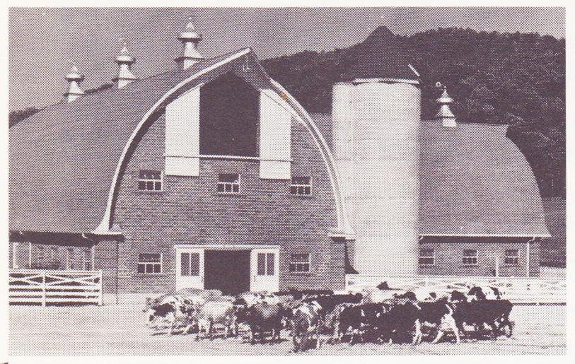 The Pressman's Home dairy barn, as rebuilt in 1940. My bedroom window faced the barn.