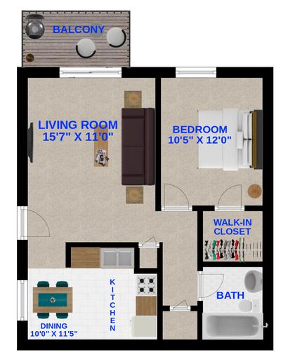 Standard (1 Bedroom, 1 Bathroom)