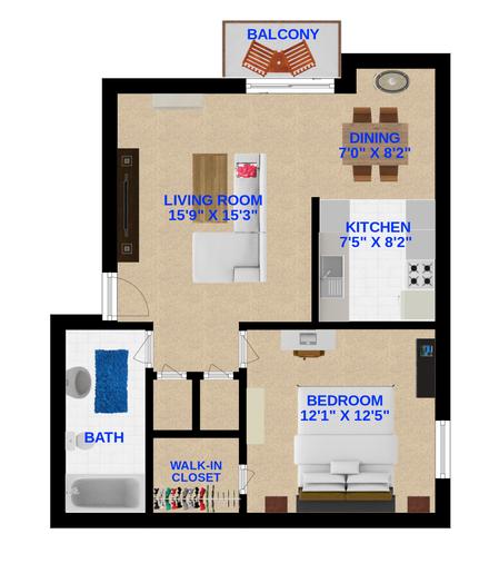 XL (1 Bedroom, 1 Bathroom)