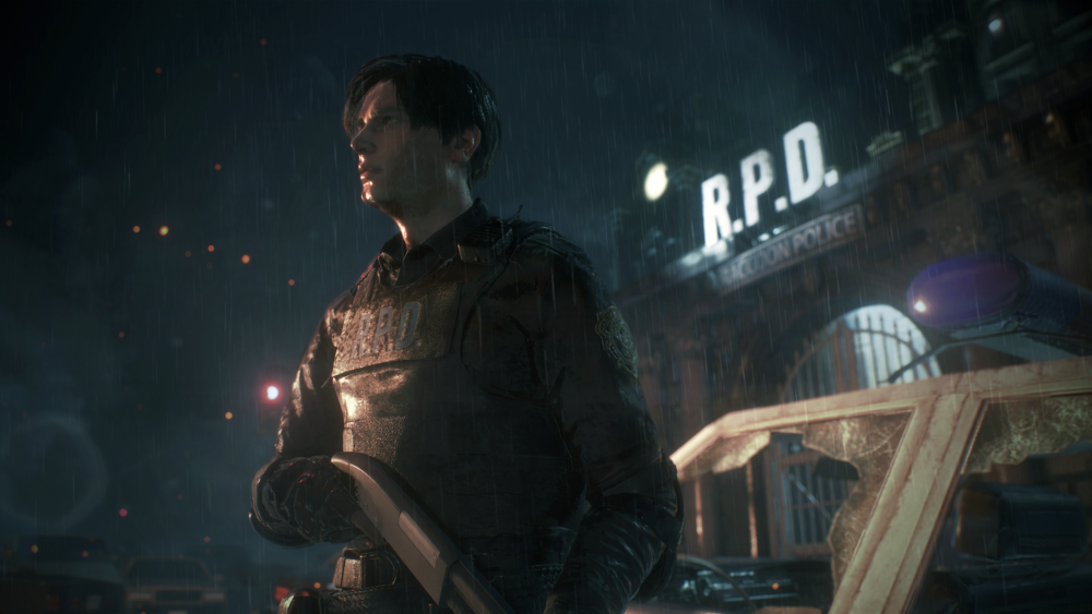 Leon Kennedy, about to have a bad day in the Racoon City Police Station (Source: Gamespot).