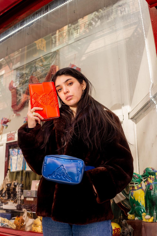 MeDusa Mini Clutch  in Red,  Pouch Bag  in Blue
