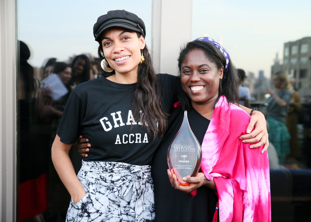 Grand prize winner of the 2018  CFDA + Lexus Fashion* Initiative , Rosario Dawson and Abrima Erwia of  Studio 189 .