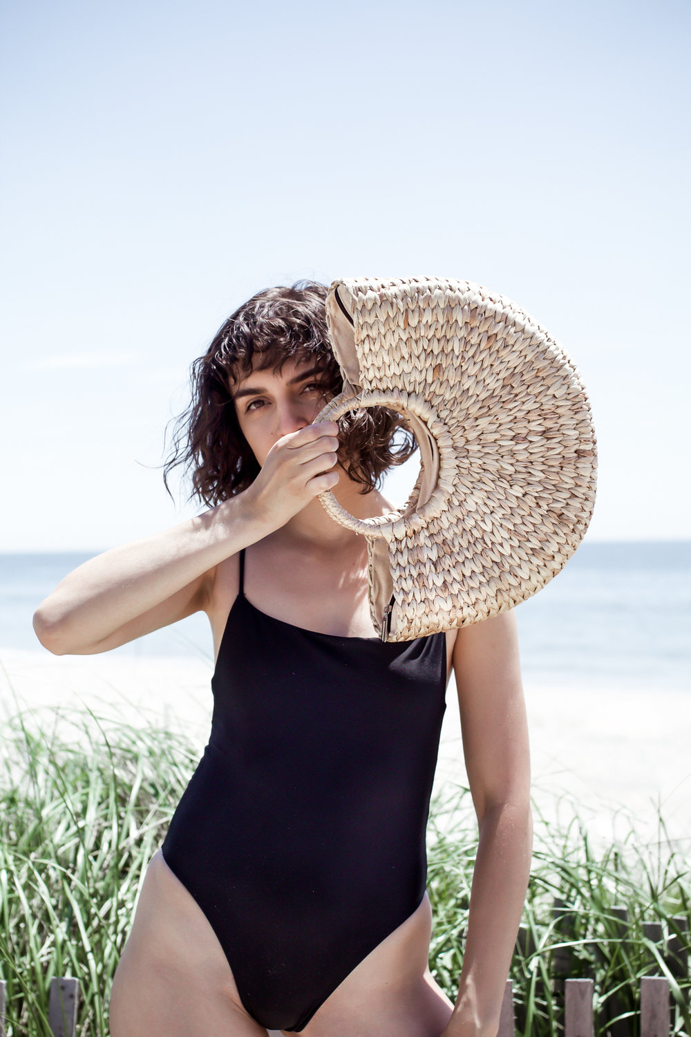 The Saltwater Collective Paulina One-Piece ,  Above Studio Circle Basket Bag