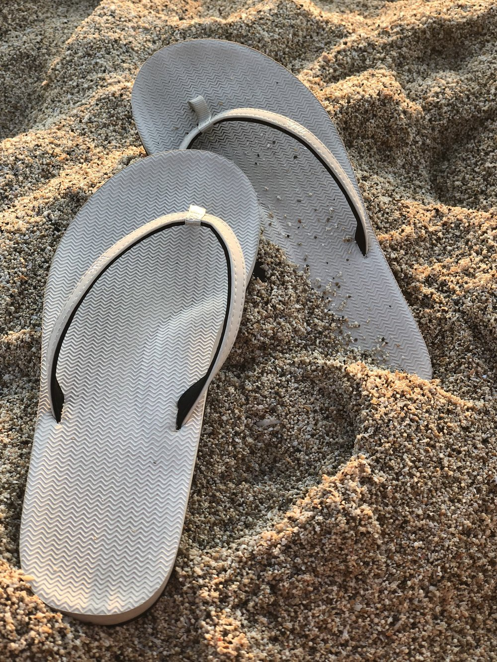 Indosole flip flops in sea salt.