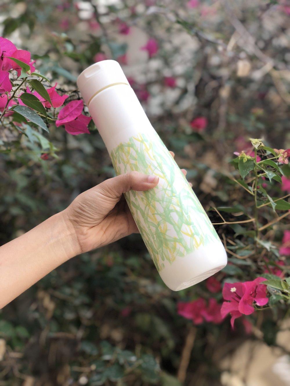 The Namaste reusable water bottle