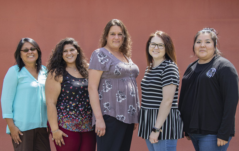 Staff from left to right: Virginia Collins - Victims Services Director, Kayla Colon - Tribal Sexual Assault Advocate, Jennifer Childers - Transitional Housing Victim Advocate, Harley Lenox - Victims Services Unit Case Aide, Kent Tehauno - Victims Services Unit Project Aide