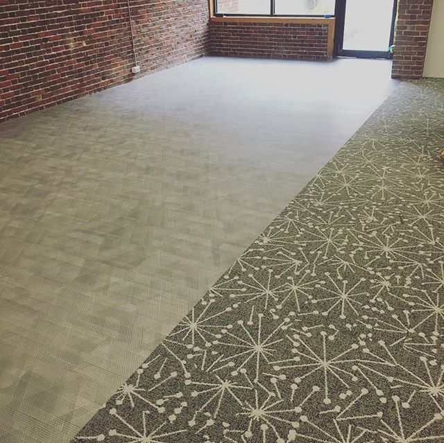 Job site sneak peak! 👀 Check out this FUN @interface and @florsquares install - carpet tiles, carpet planks, and LVT going down in bright colors and cool patterns! Stay tuned for the finished pictures 😊  #flooring #flooringcontractor #beautifulspaces #design #color #bostonflooring #interiordesign #funfloors #interface #flor #carpettiles #planks #LVT #biophilicdesign