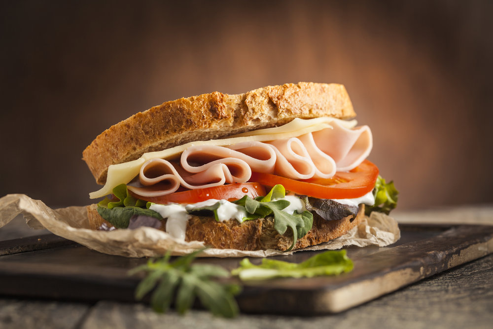 DELI STYLE SMOKED HONEY HAM SANDWICH. IMAGE CREDIT: ADOBE STOCK PHOTOS.