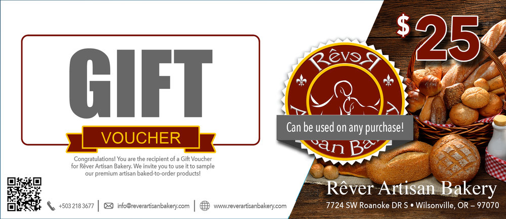 Breads, Beignets, Scones, Cakes, Cookies, & Pies: Oh my! - Your purchase of our gift certificates is an invitation for your recipiant to try our products risk free! A gift that keeps on giving!