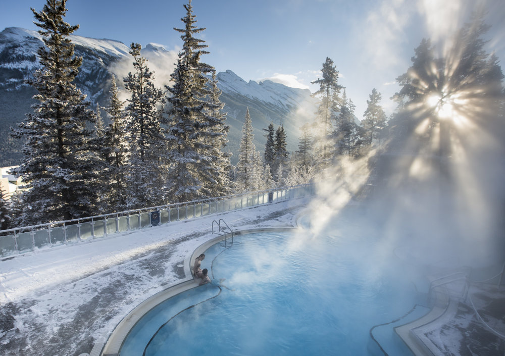 Banff Upper Hot Springs is a postcard-perfect spa getaway.  Photo courtesy of Banff & Lake Louise Tourism / Noel Hendrickson