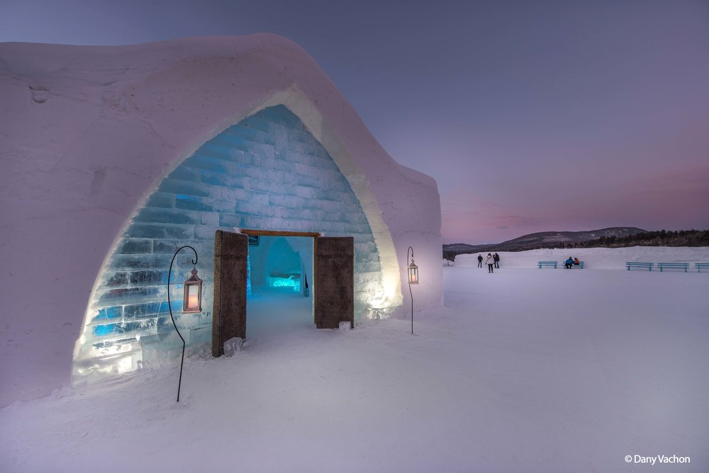 Hôtel de Glace is rebuilt every year in time for visitors.  Photo by © Dany Vachon