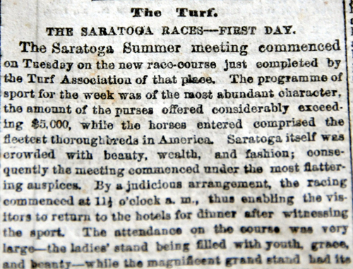 an article on the first day of the new Saratoga Race Course in 1864