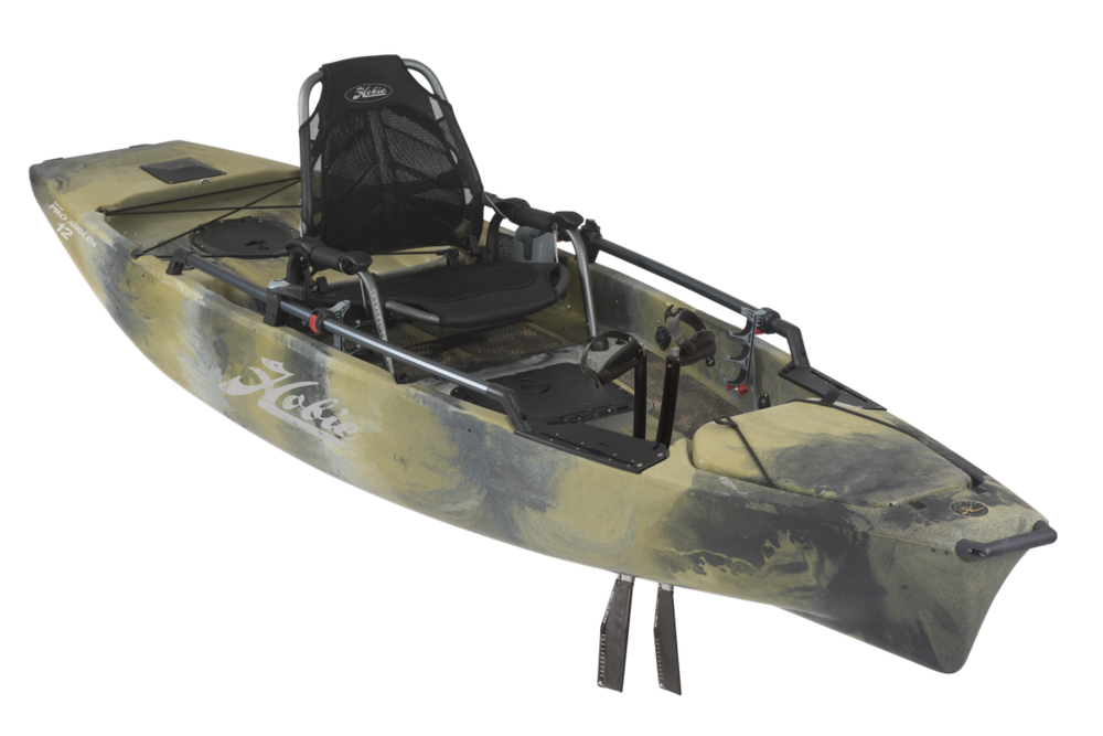 Mirage Pro Angler 12   Dominate the water, fresh or salt. The Pro Angler 12 deploys all the big-boat fishing features of the 'PA' series on a 12-ft. long platform that fits neatly in the back of most any pickup truck.