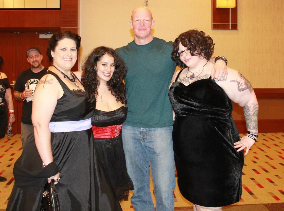 They hosted a 'Carrie' themed prom with PJ Soles in attendance, complete with buckets of glittery blood. Me and two of my dearest friends Brandy and Sarah got dressed in our formal finery, and Derek Mears (Friday the 13th, Predators, Holliston) snagged a photo with us on our way to the party!