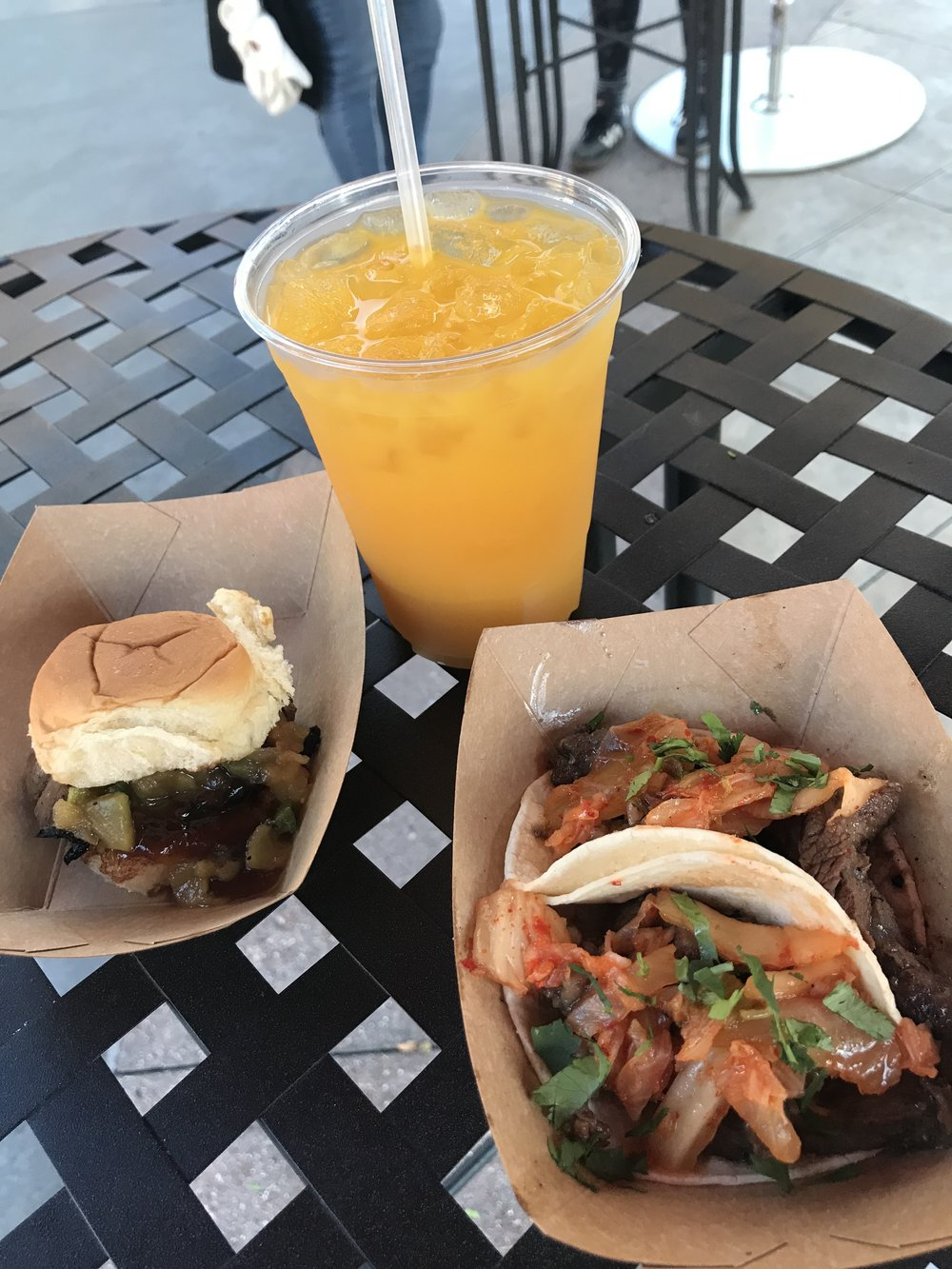 Chicken Teriyaki slider with spicy Dole® pineapple jam, Korean Barbecue Beef Short Rib Tacos with kimchi slaw, Mango Agua Fresca (non-alcoholic), Carl really liked these from the LA Style booth.