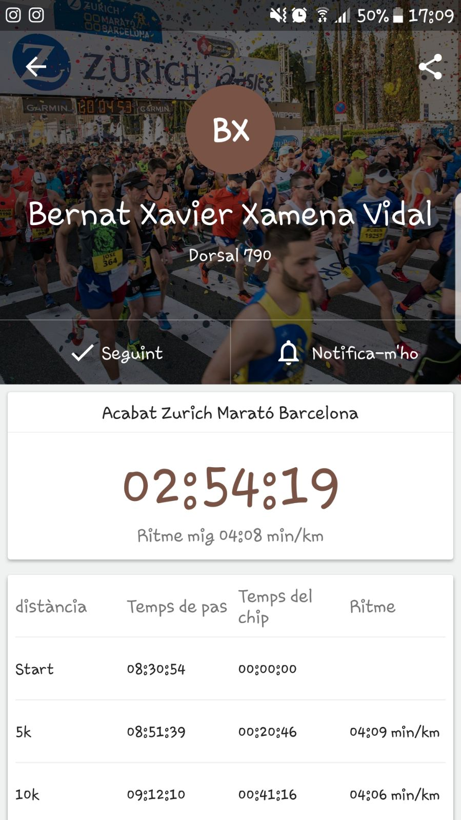 The screenshot Bernat sent to his coach Jo after the race.