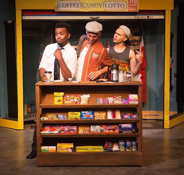 Frankie Leo Bennett as Sonny with Stephen Allen (Benny) and Jack DeCesare (Usnavi)   IN THE HEIGHTS | Porchlight Music Theatre  Photo: Gretchen Kelley