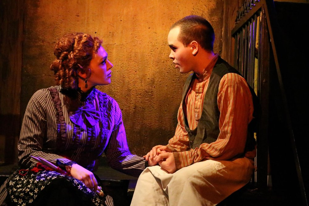 Frankie Leo Bennett as Tobias Ragg with Jacquelyne Jones (Mrs. Lovett)  SWEENEY TODD | Theo Ubique Cabaret Theatre  Photo: Cody Jolly