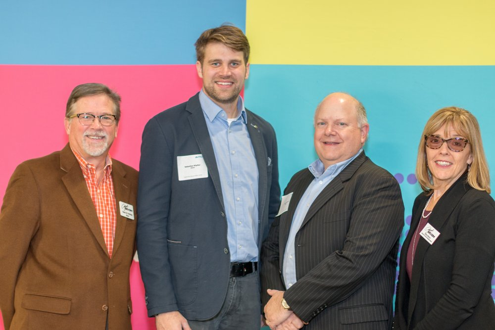 City Mayor and Dave Martin; Mayor Kevin Hinkley, City of Wixom; Sebastian Wipfler, Passive Safety Center Manager; Dave Martin, VP Programs, Passive Safety Center; Debra Barker, Economic & Community Development Director