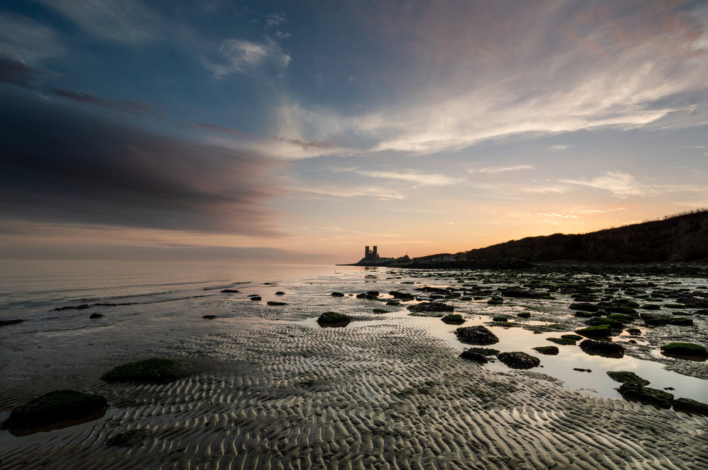 Sunrise in Reculver at low tide. Only at low tide is it possible to get a clear shot of the towers looking east.