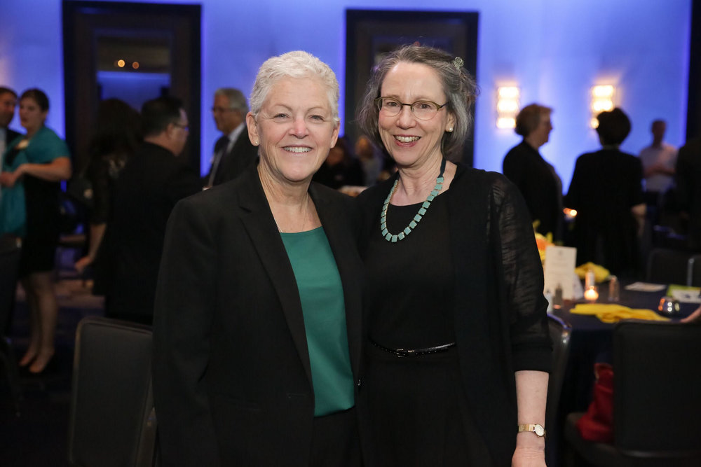 Keynote speaker Gina McCarthy and Silent Spring Institute, executive director, Julia Brody.