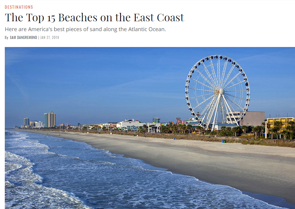 1/27, Town & Country,  The Top 15 Beaches on the East Coast