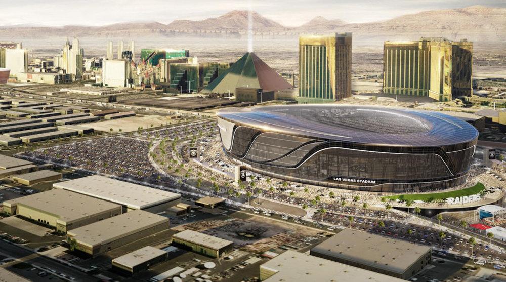Un render de la artificiosa ciudad de Las Vegas con el nuevo estadio de Los Raiders en 2020