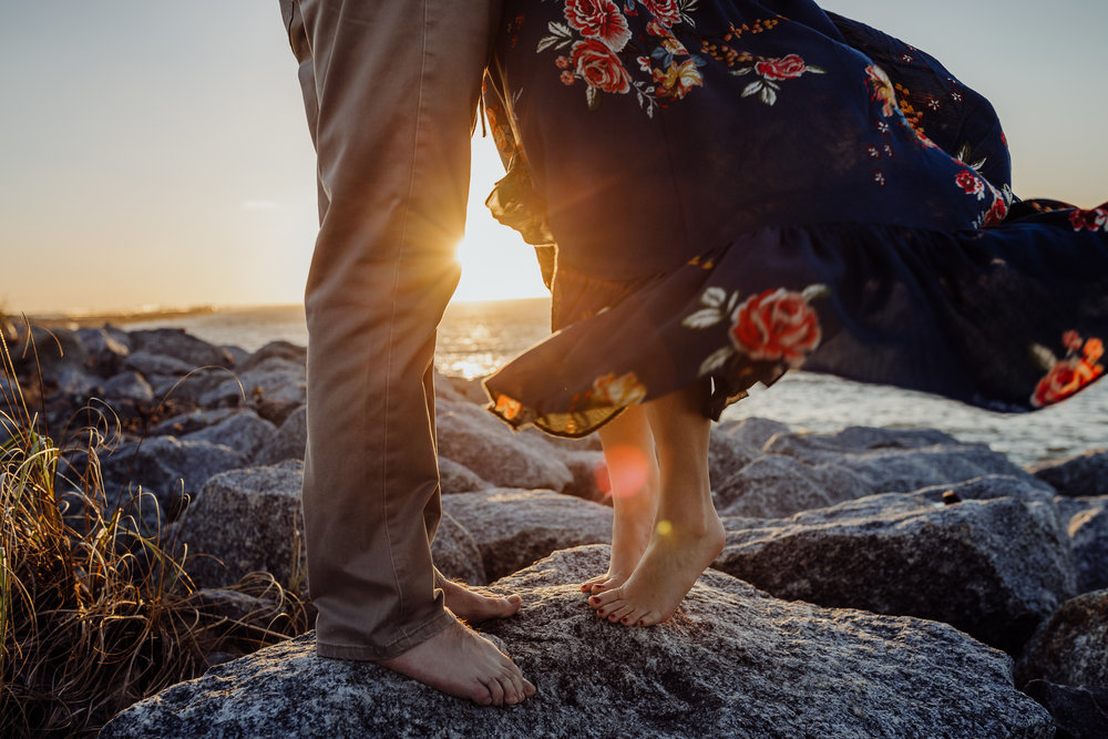 Daytona Beach engagement photographer shot in Ponce Inlet, Fl styled with a floral Sophie and Trey maxi dress