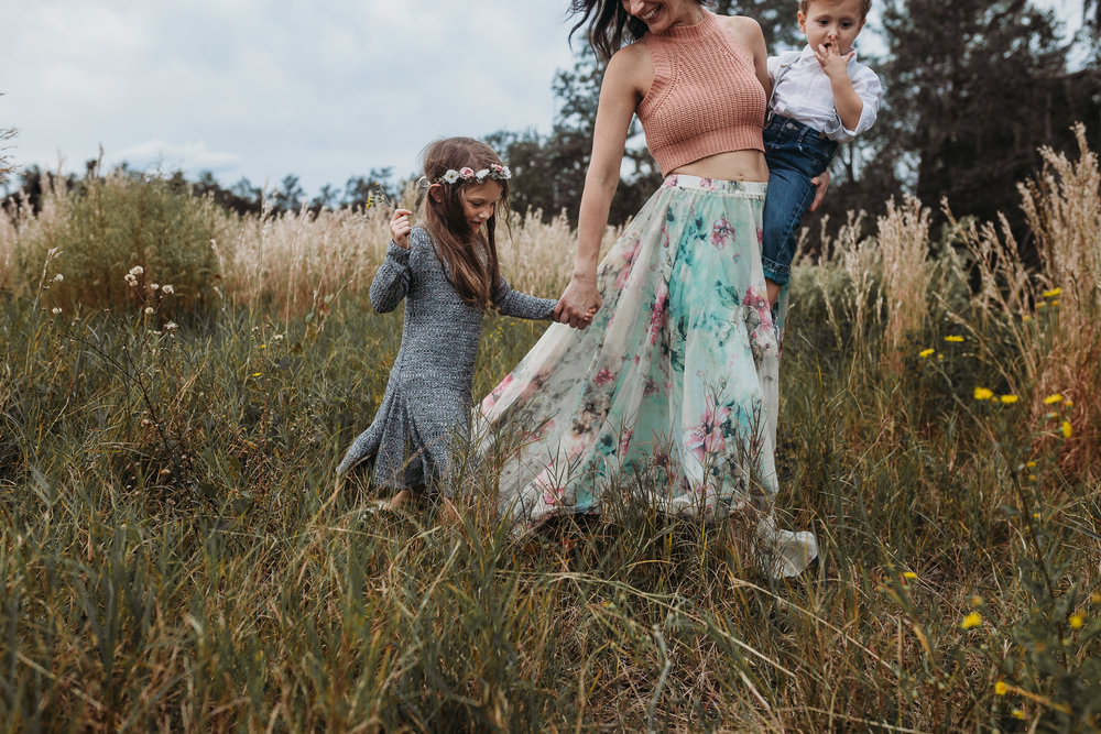 Deland Florida Family Photographer with boho field photoshoot