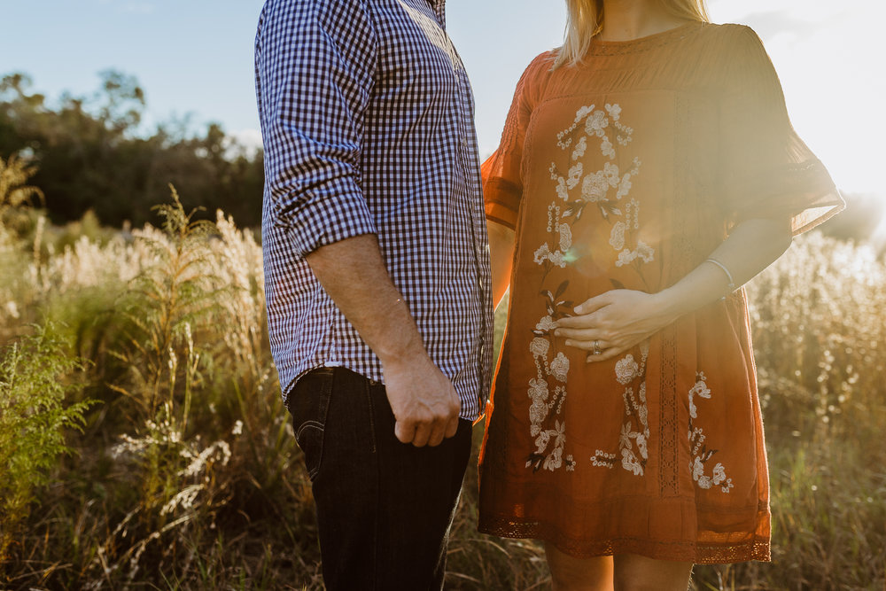 Debary, Deland, Dayton Beach, Lake Mary, Orlando Maternity photographer shot in a field with Free People dress