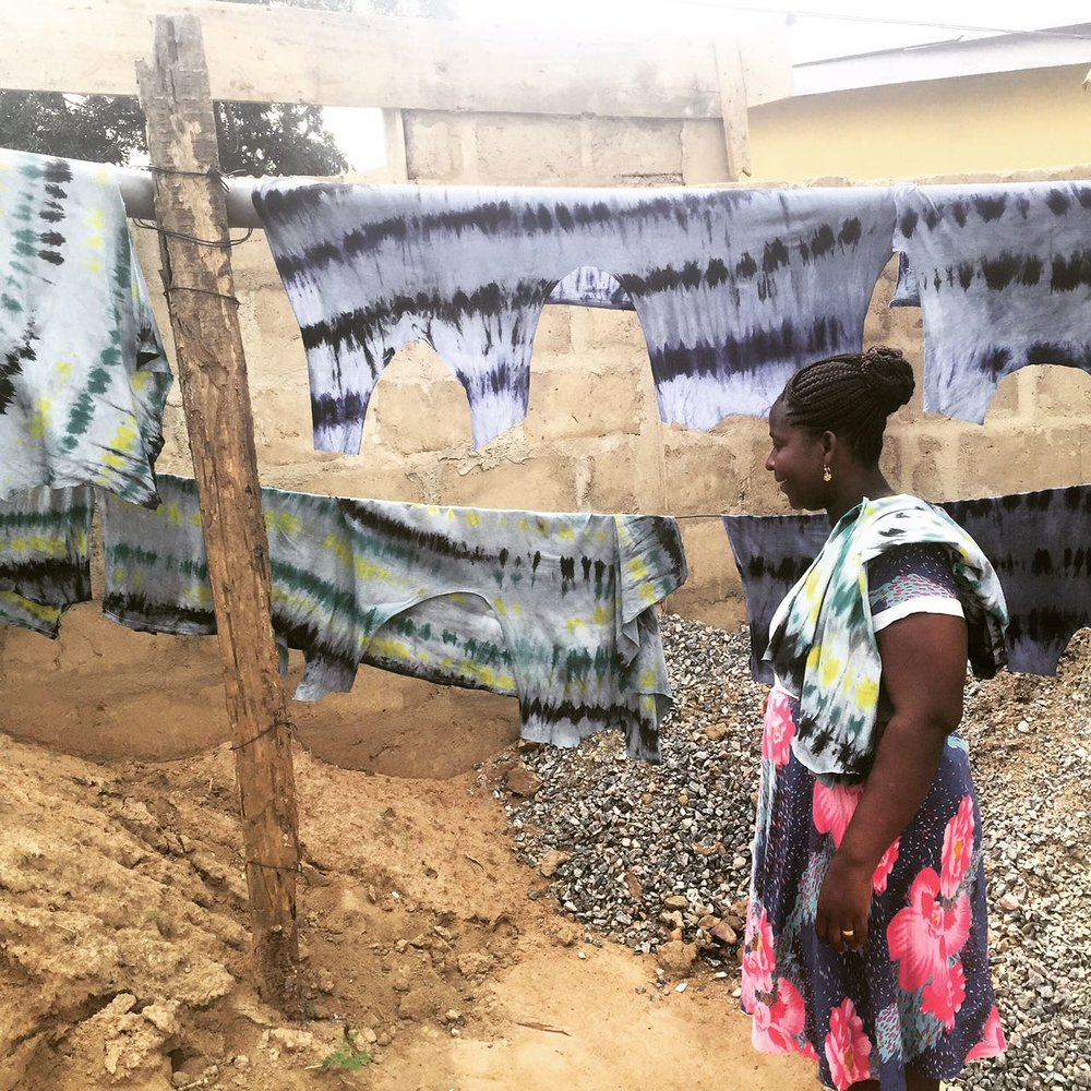 Matilda Inspects New Tie-Dye Prints for Loud Cloud Trousers